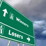 Stock photo of concept Traffic sign for Winners or Losers. Photo concept made for advertising / promotion, bussines reports, editorial, books, brochures, posters, multimedia, websites, presentations, etc.